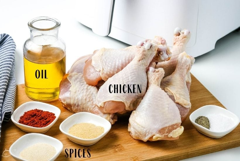 ingredients labeled for air fryer drum sticks