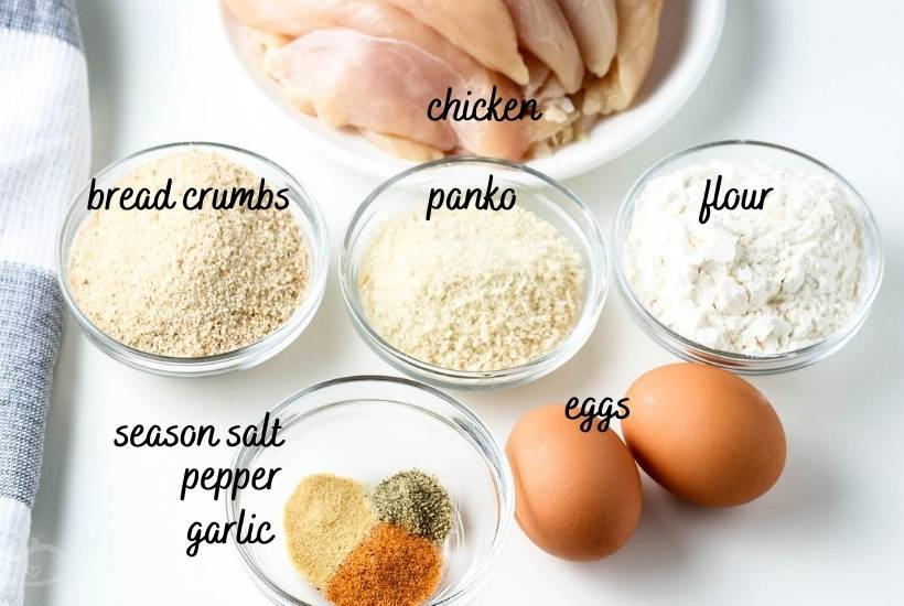 labeled ingredients for chicken strips on white background