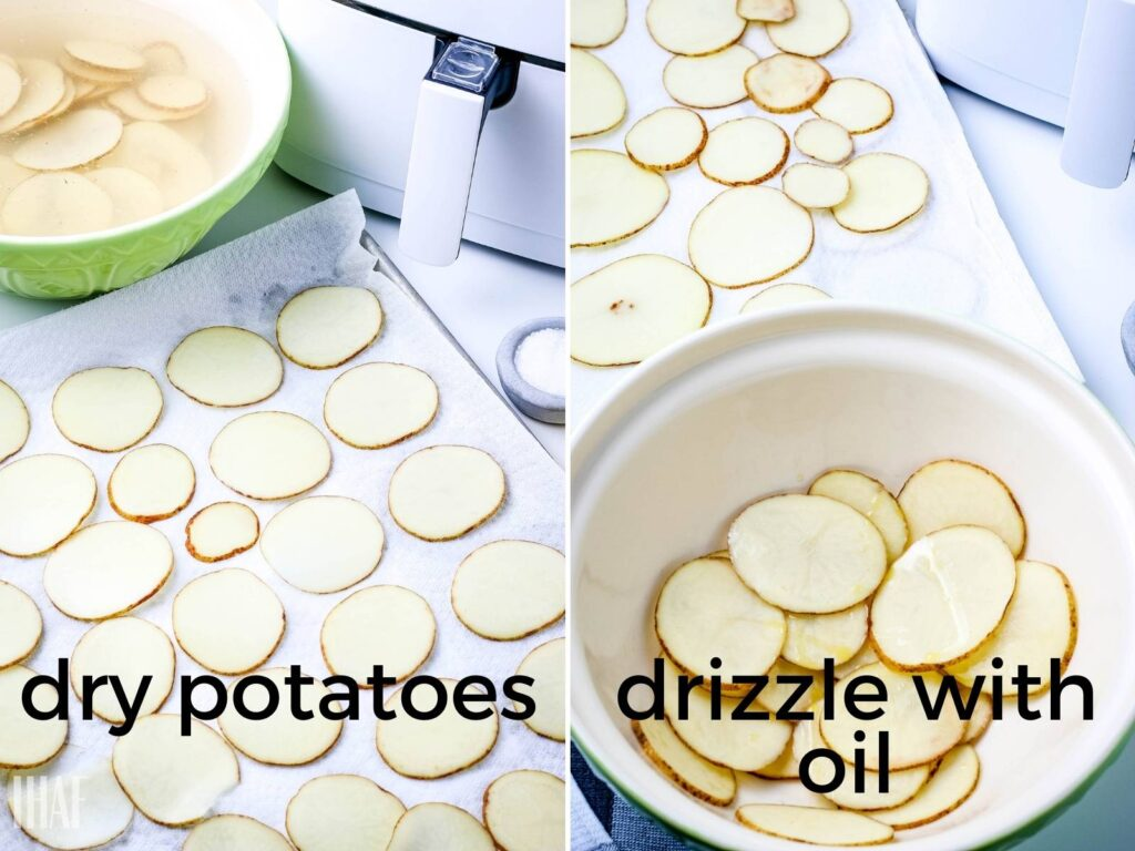 image 1 -potato rounds drying on a paper towel; image 2 - potatoes in a bowl drizzled with oil