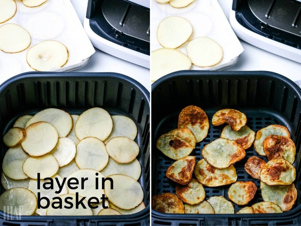 image 1 - raw potatoes layered in air fryer basket; image 2- air fryer chips after cooking