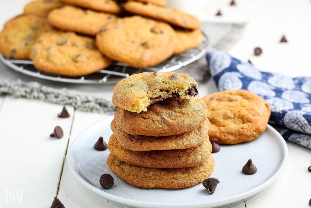stack of air fried chocolate chip cookies on a small white plate
