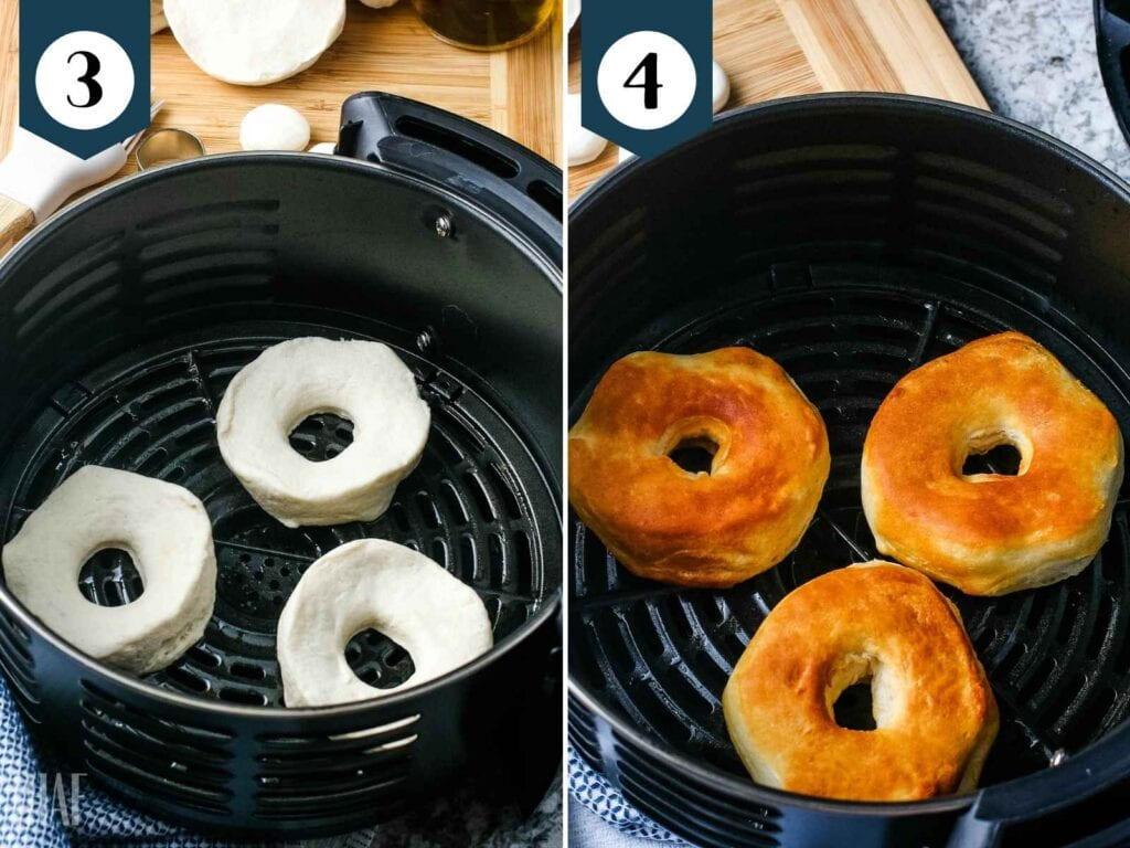 biscuit dough in basket and cooked donuts in air fryer basket