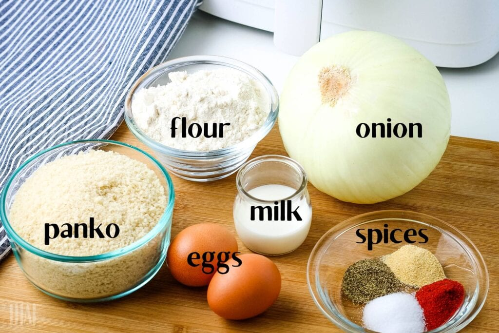 ingredients labeled to make breaded onion rings