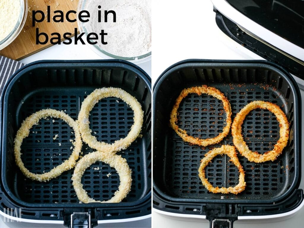 2 image collage showing air fried onion rings before and after