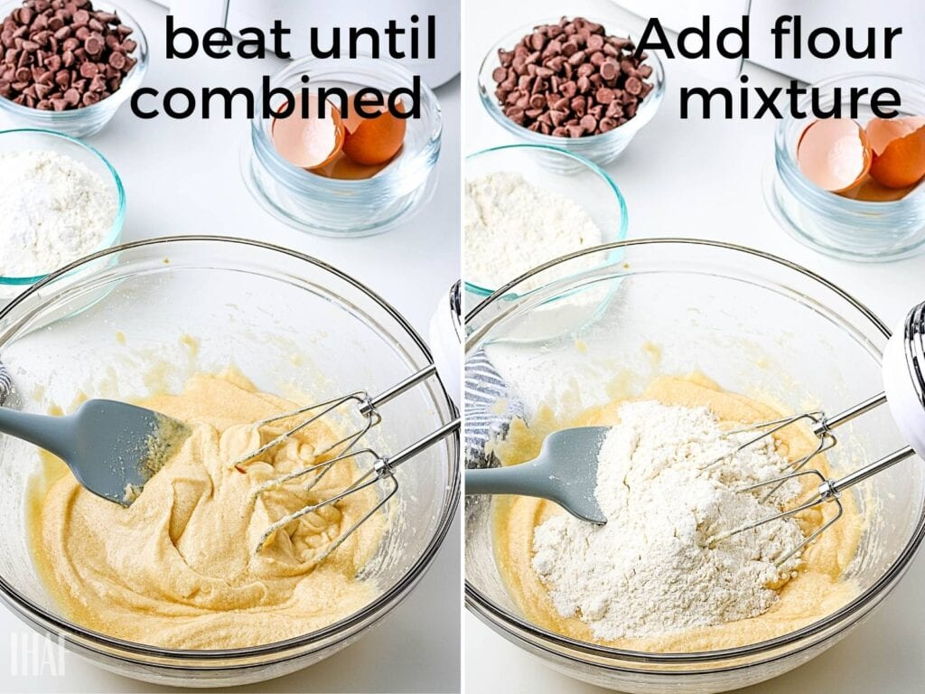 2 image collage with butter and sugar being creamed then dry ingredients being added in