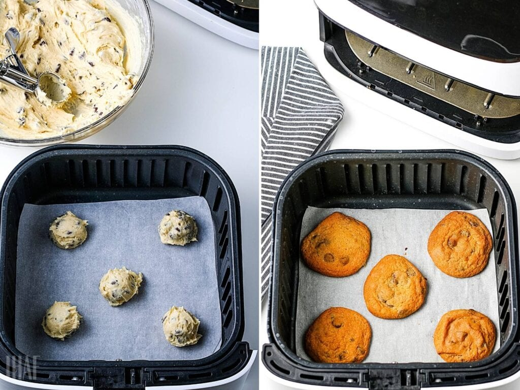 2 image collage, cookie dough balls in the air fryer basket, then after they have been cooked