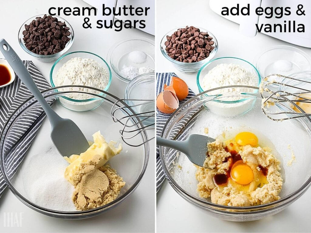 butter and brown sugar in a glass bowl, then egg and vanilla being added in
