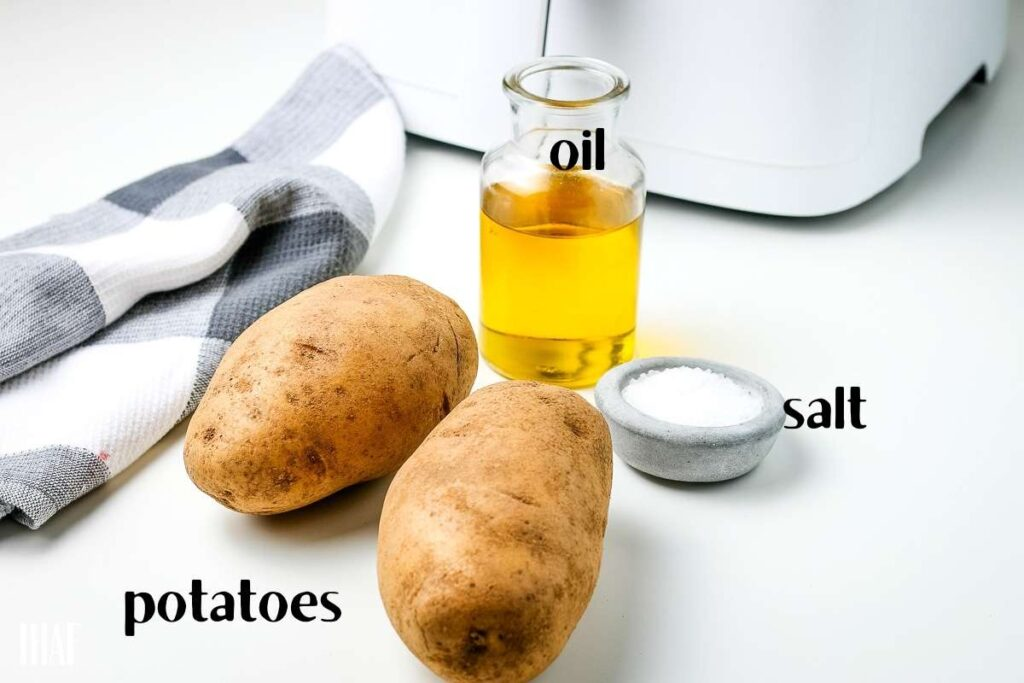 ingredients labeled to make potato chips in the air fryer