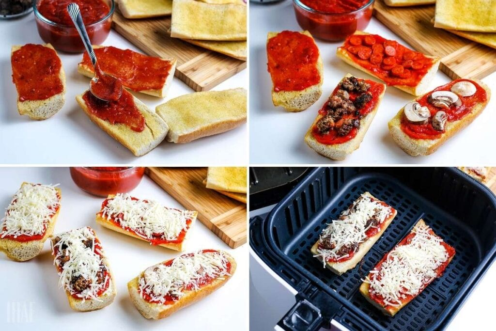 four image collage showing the bread being assembled with toppings and cooked in the air fryer
