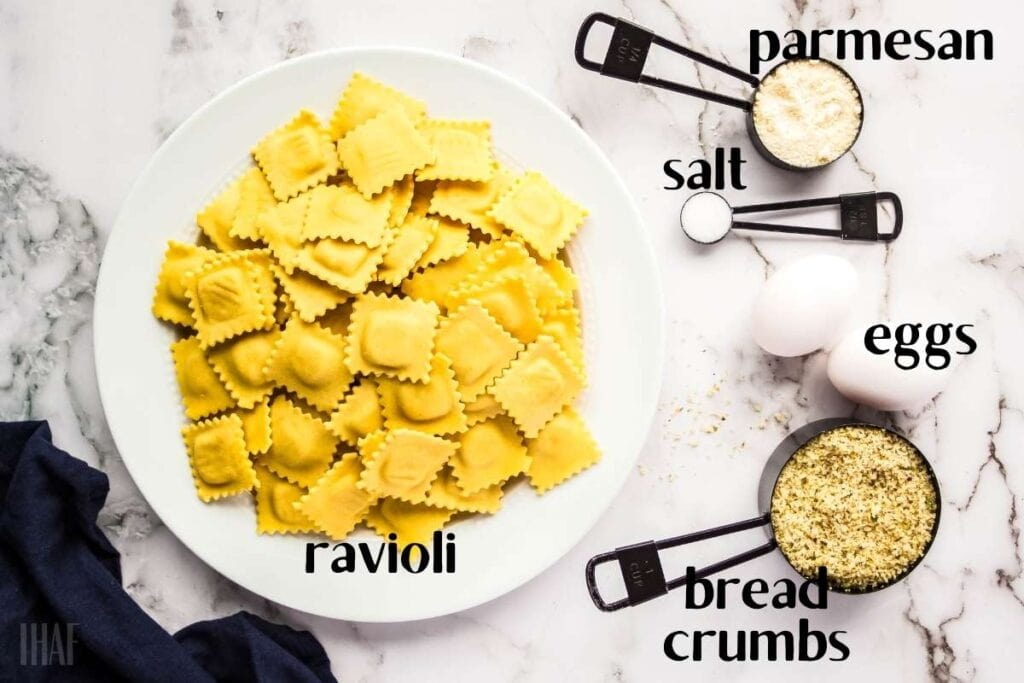 ingredients labeled for making ravioli in the air fryer