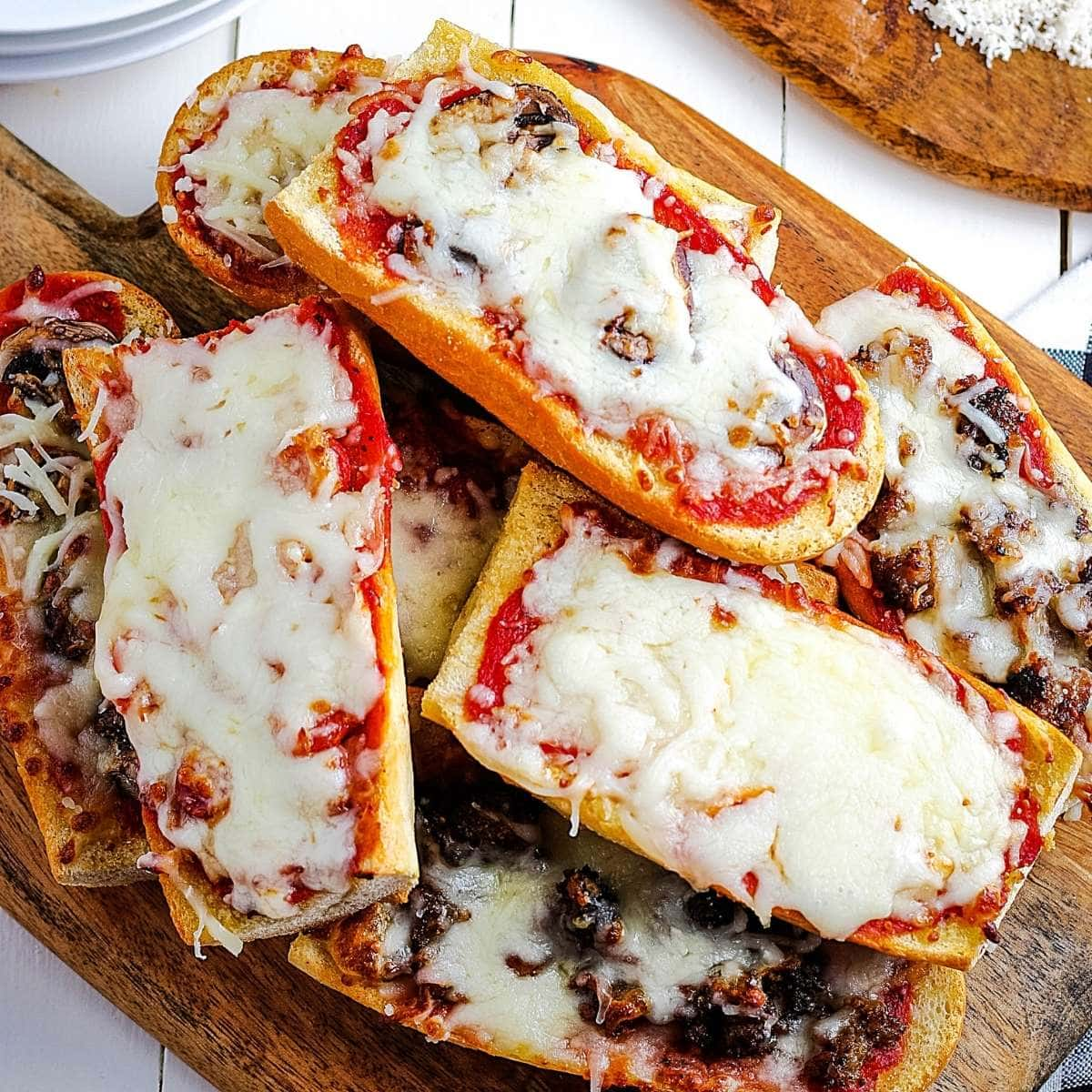 top view of Air Fryer Pizza Bread topped with cheese