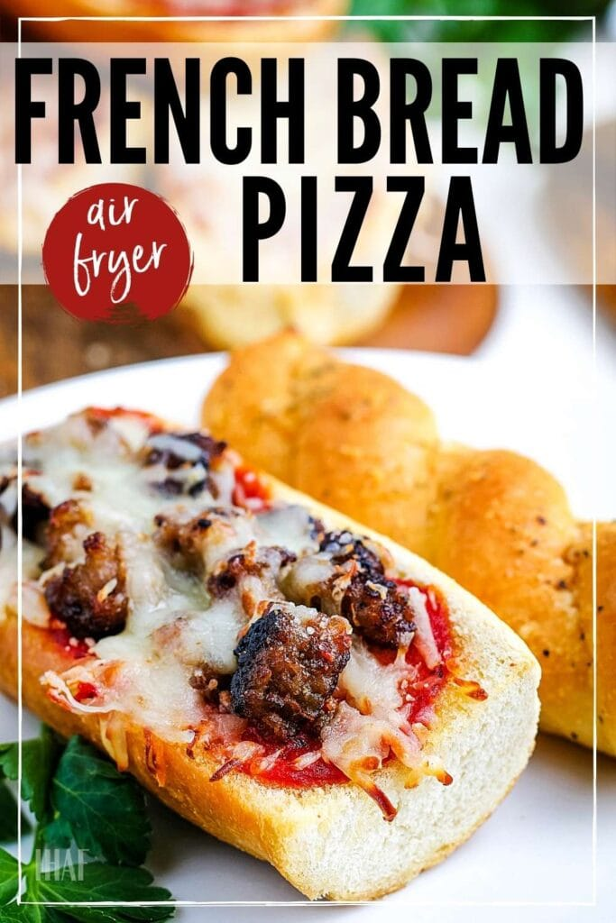 air fried pizza bread with cheese and toppings with text overlay