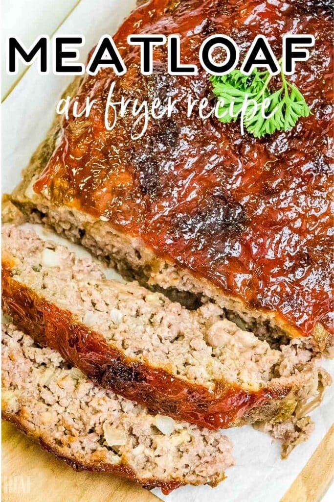air fried meatloaf with 2 slices and topped with parsley