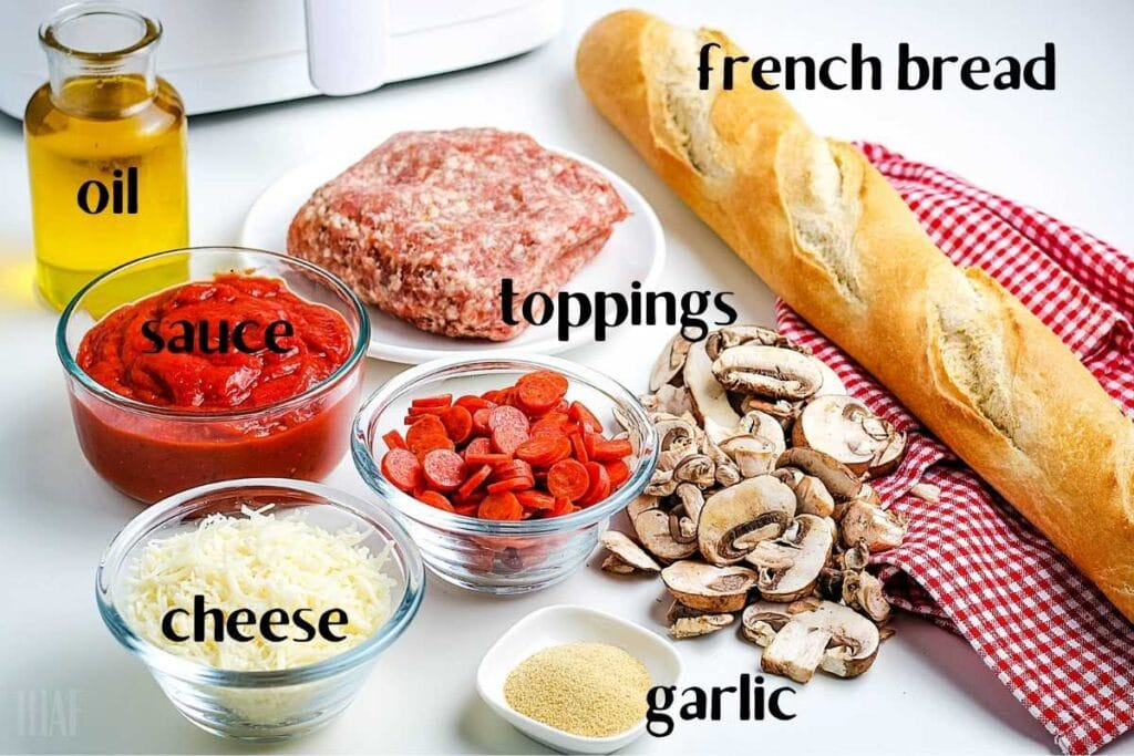 ingredients labeled to make pizza bread in the air fryer