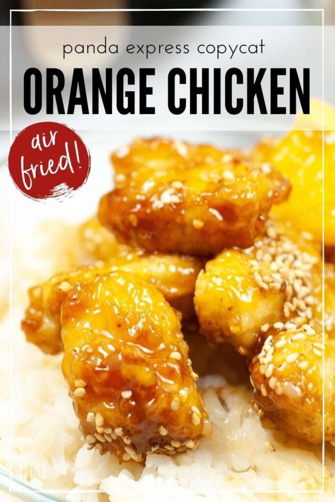 Closeup of cooked Orange Chicken on a bed of rice with graphic overlay