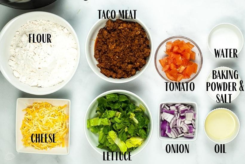 ingredients labeled for navajo tacos to make in the air fryer
