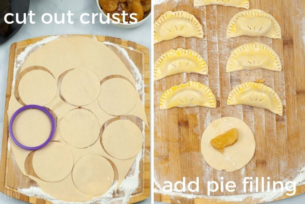 two image college showing hand pies being cut and folded over