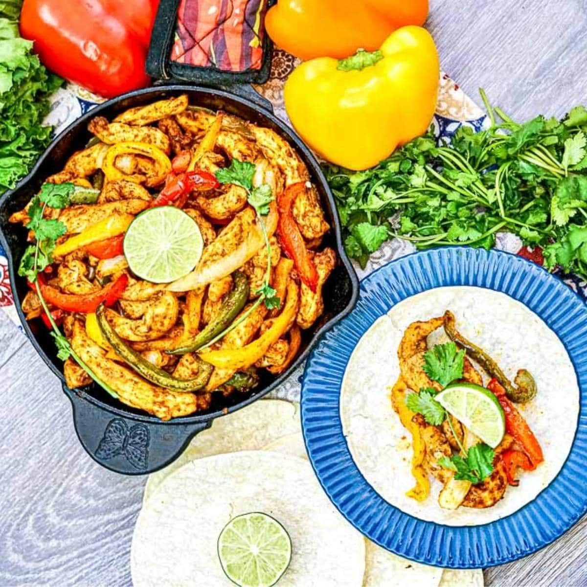 air fryer chicken fajitas next to plate with tortilla being made