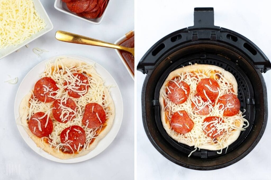 two image collage showing the naan pizzas being topped with pepperonis and cheese then placed in the air fryer
