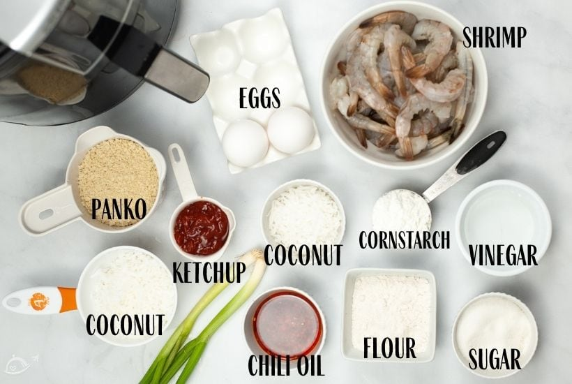 labeled ingredients to make coconut shrimp in the air fryer