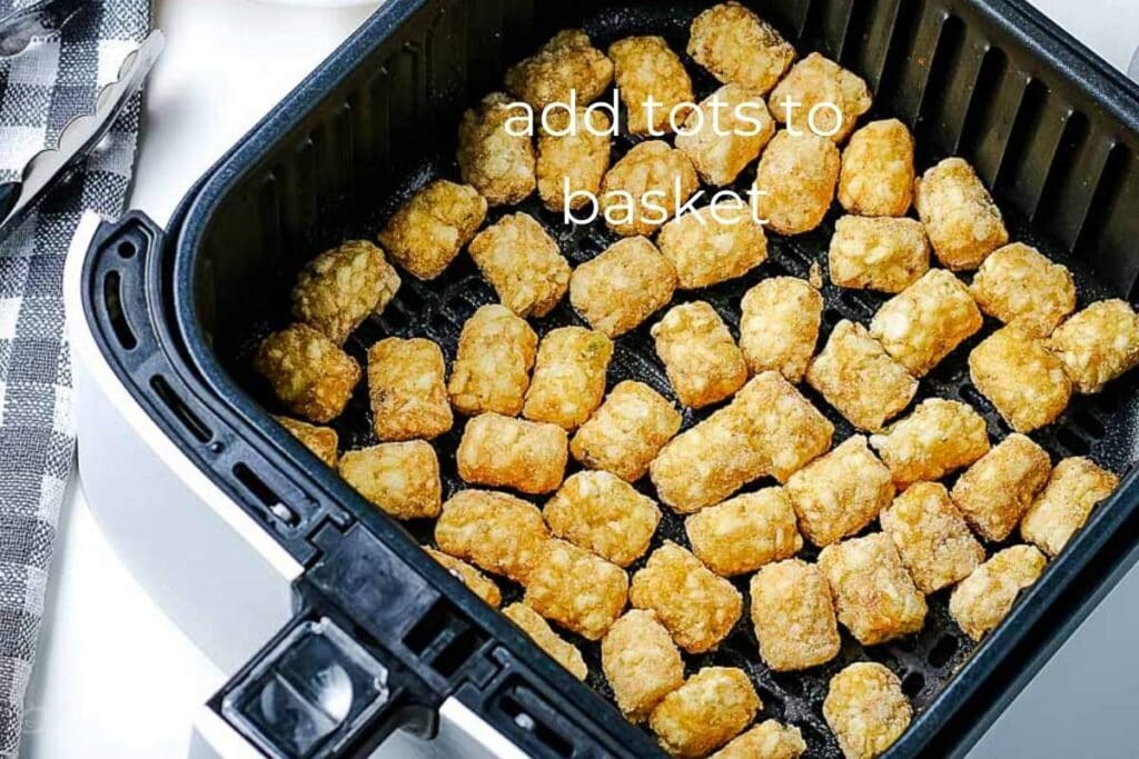 frozen tater tots in in the air fryer basket