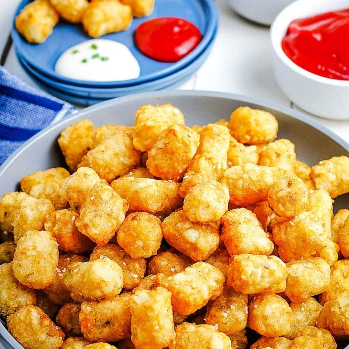 tater tots on plate after cooking in the air fryer next to ramekin of ketchup