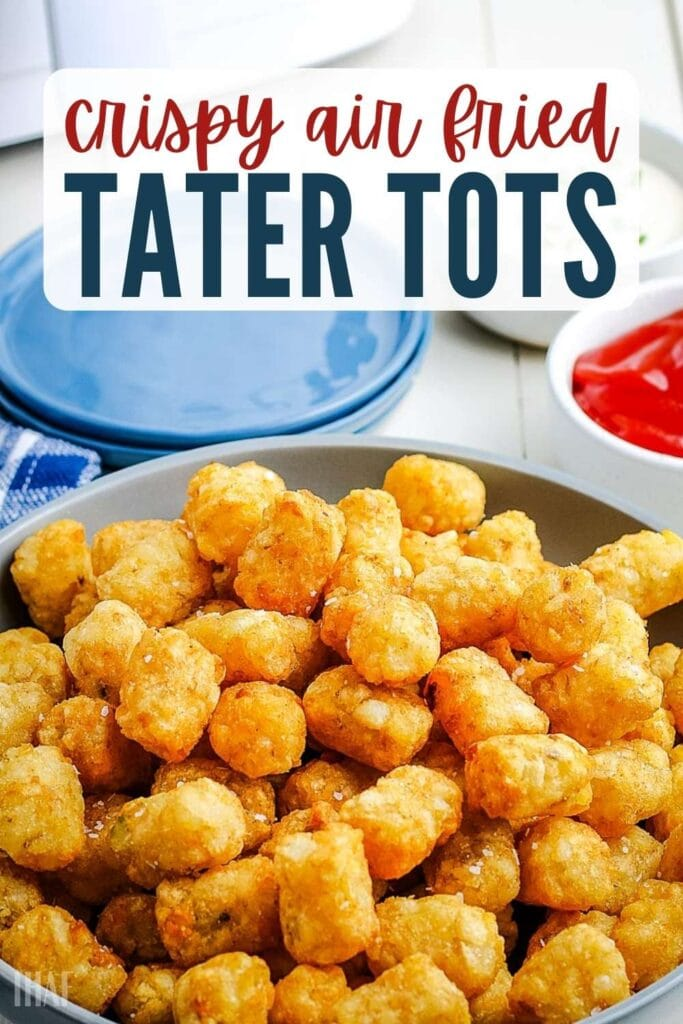 a plate of air fryer tater tots next to bowl of ketchup with text overlay
