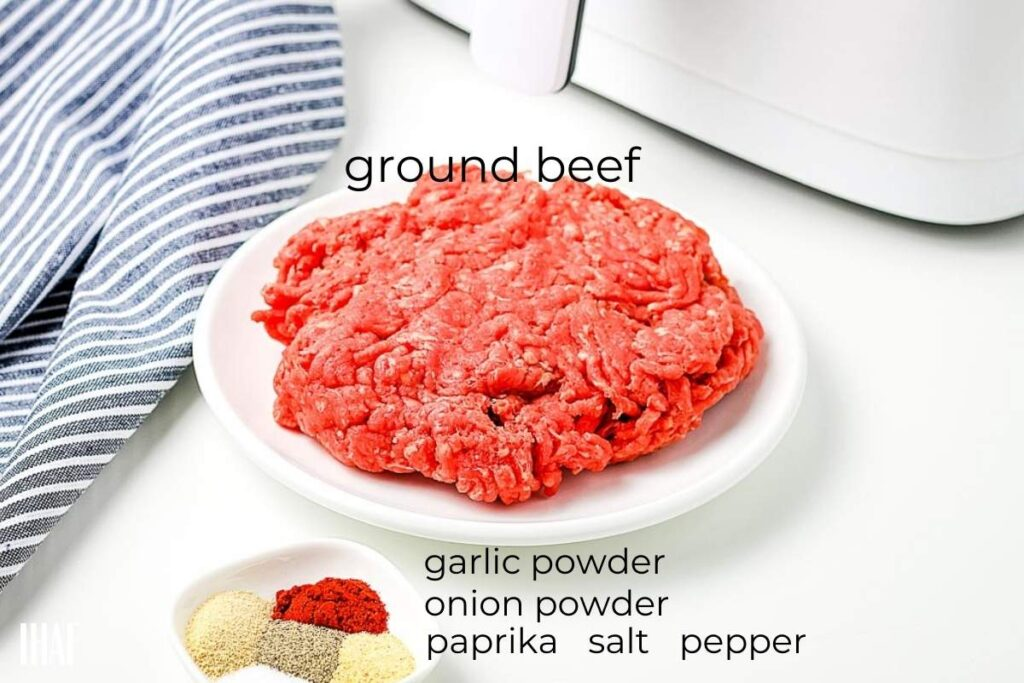 ingredients labeled for air fryer hamburgers