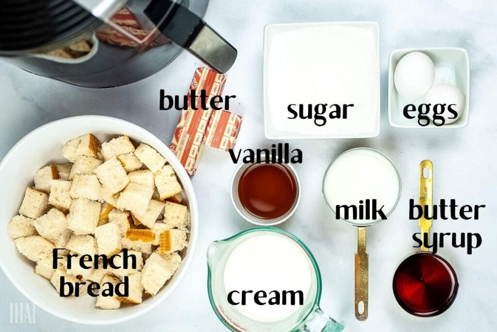 ingredients labeled for air fryer bread pudding