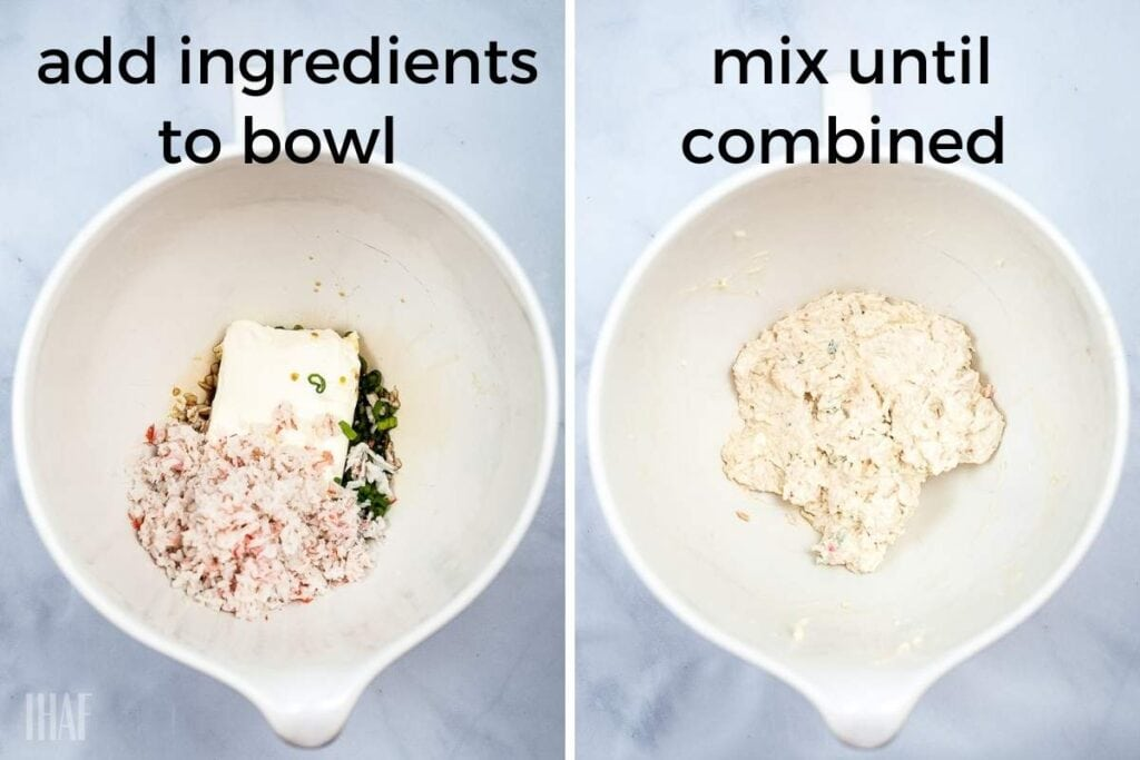 two image collage showing ingredients being mixed for air fryer crab rangoon