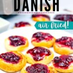 a plate of cherry cheese danishes after cooking with text overlay