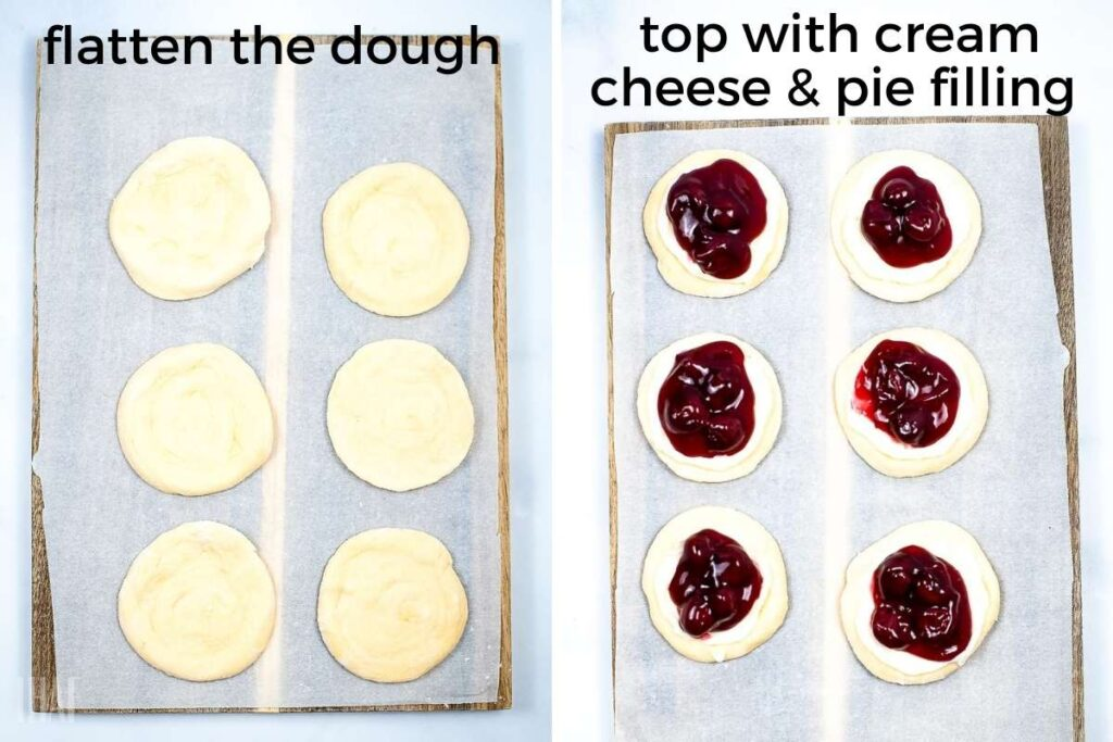 two image collage showing the pillsbury rolls being flatten and the cherry filling being added