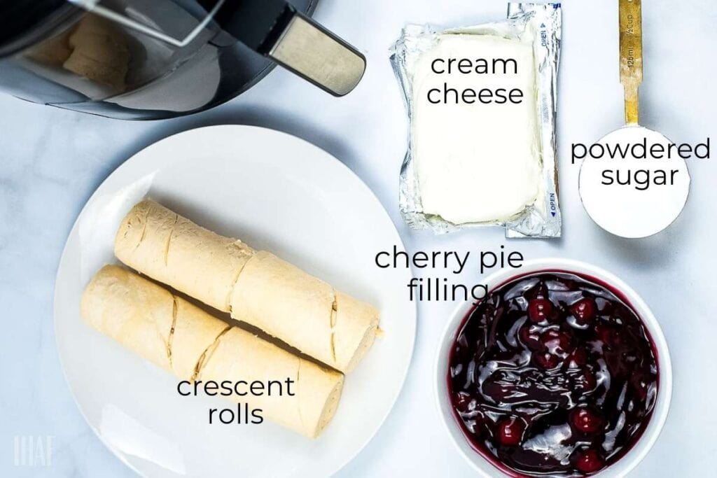 ingredients labeled for cherry cheese danish