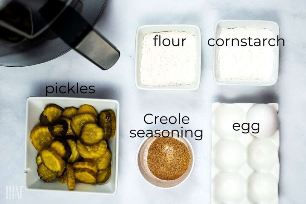 ingredients labeled for fried pickles