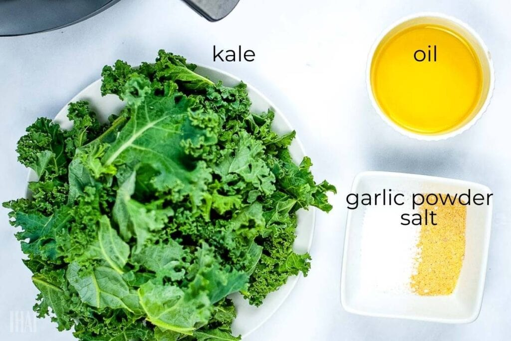 ingredients labeled for air fryer kale chips