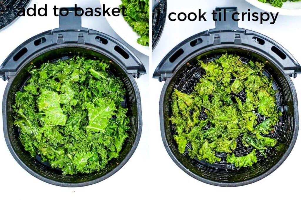 two image collage showing the kale going in the basket and after it's finished air frying